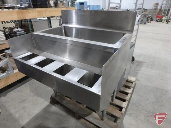 """Stainless steel ice chest with condiment slots and 7"""" backsplash"""