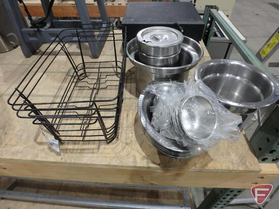 Chafing dish supports, condiment holders, and asst. soup warmer inserts