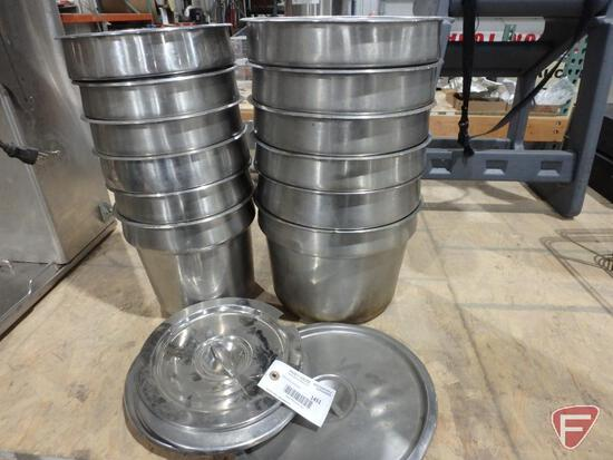 """(6) 8"""" soup warmer inserts, (6) 10"""" soup warmer inserts, and some lids"""
