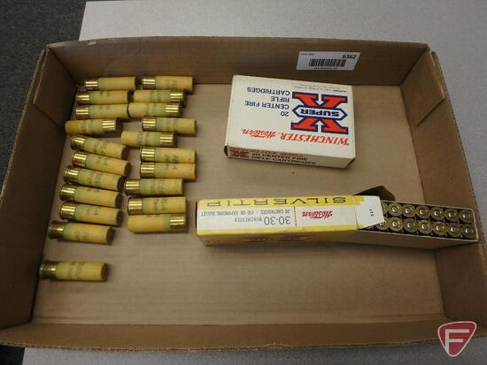 .30-30 Win ammo (20) rounds, empty vintage .30-06 box, 20 gauge ammo (21) rounds