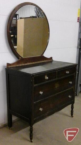 4 drawer dresser with mirror on wheels