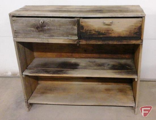 Primitive 2 drawer cupboard/shelf