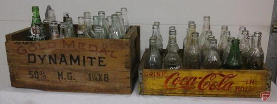 Coca Cola crate and Gold Medal Dynamite box with vintage pop and other bottles