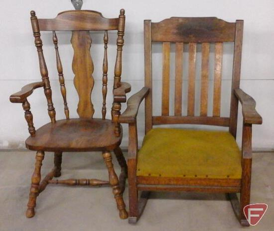 Oak rocker with upholstered seat and other heavy side chair