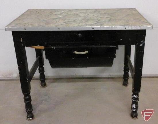 Vintage table with drawer and double bin drawer