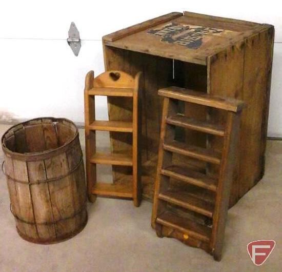 Kennedys Biscuit box/crate, nail keg and 2 wood shelves