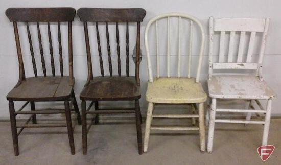 4 wood chairs, 2 matching
