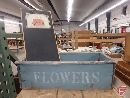 Wood items-clock shelf, flower box, cradle, chalkboard, silverware box