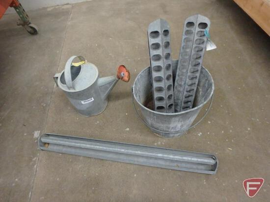 Metal items-chicken feeders, pail, decorative windmill kits, shepard's hooks, mailbox