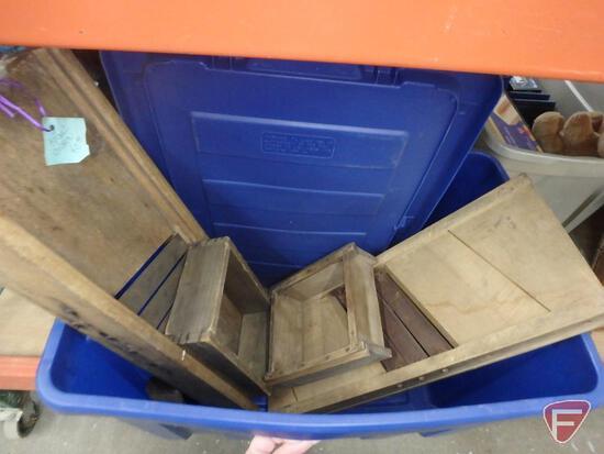Wood tool box, printer shelf, collapsible wood box, decorative wood pieces, kraut cutter,