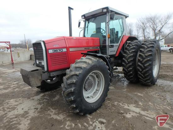 Massey Ferguson 3670 Dynashift Autotronic diesel tractor with band duals and cab, 3824hrs