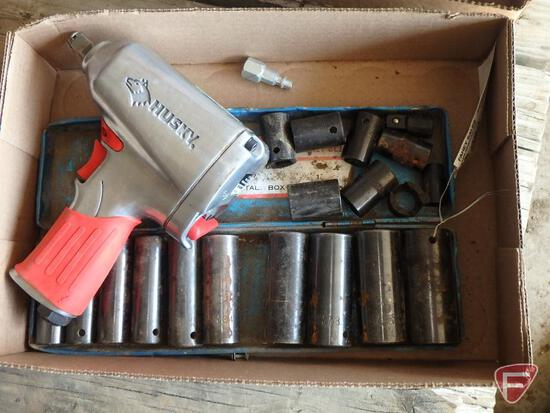 """Husky 1/2"""" drive pneumatic impact wrench and SAE impact sockets"""