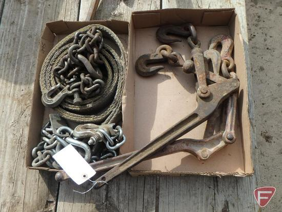 Chain binders, safety chain, and tow strap