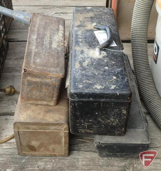 """(4) metal and plastic tractor tool boxes, one marked """"Fordson"""" on cover"""