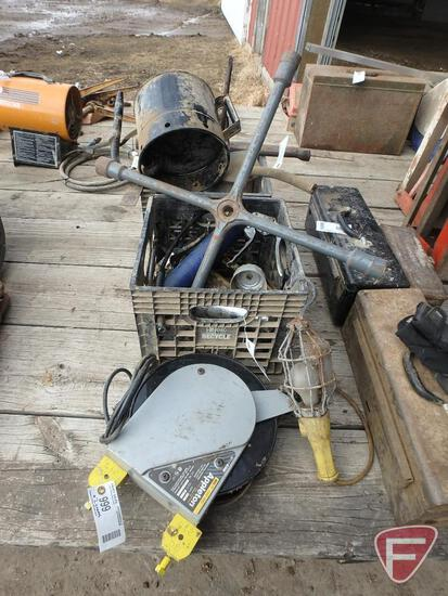Trouble light, oil cans, grease guns, star wrench, carb cleaner, gasket seal, trailer light adapters