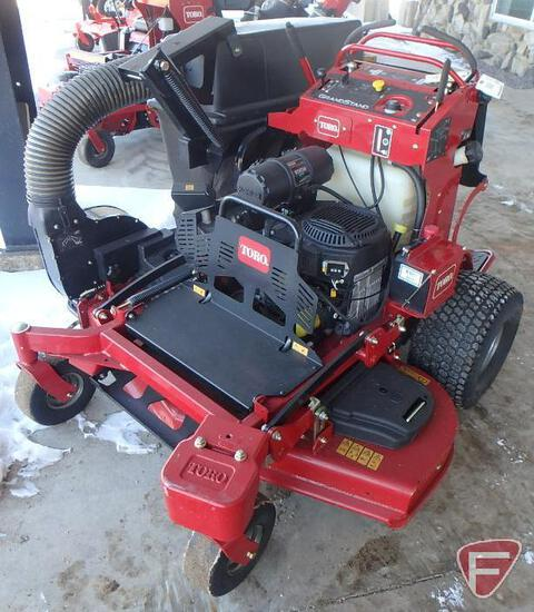 """Toro Grand Stand Turbo Force standing mower with 52"""" out front rotary deck and collection system"""