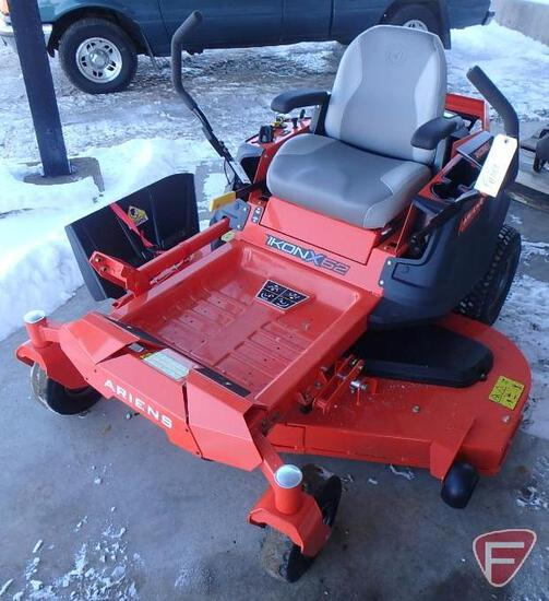 """Ariens Ikon X52 zero turn riding mower with 52"""" mid mount rotary deck, 168.2hrs"""