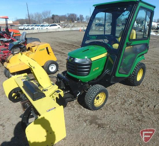 """John Deere X738 4x4 gas tractor with 54"""" quick hitch snow blower and 54"""" mower deck, 471.5 hrs."""