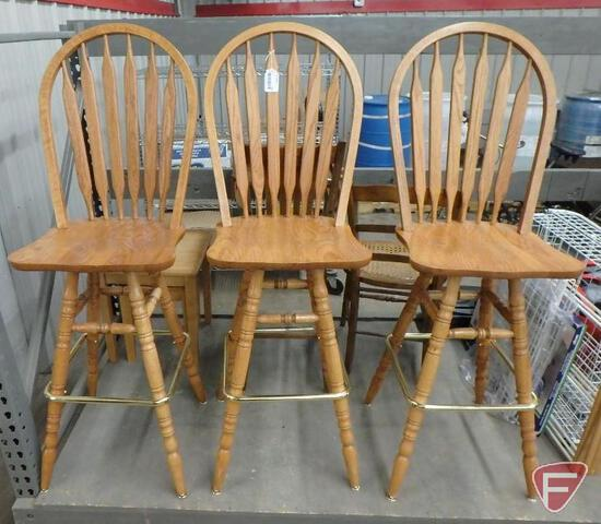 (3) island/bar stool chairs with foot rail