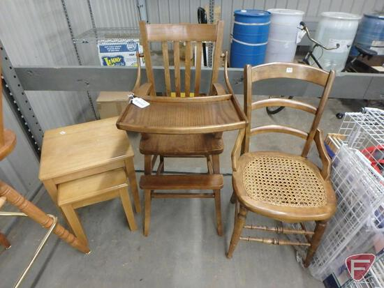 High chair, stacking tables, and side chair