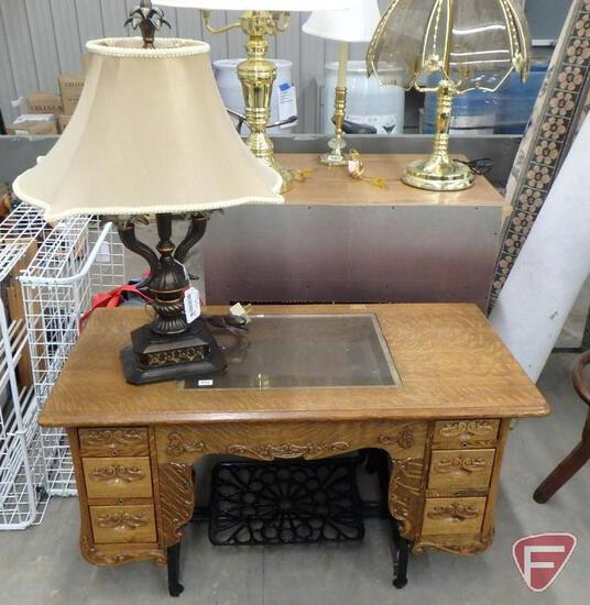 Treadle sewing machine made into cabinet/coffee table and lamp