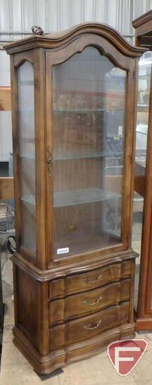 "Curio cabinet with lights, glass shelves, 26""w x 12""d x 68""h"