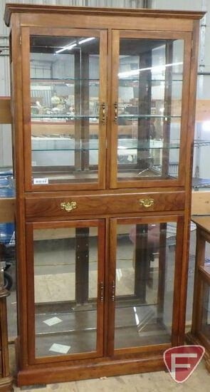 "Curio cabinet with glass shelves, 35""w x 13""d x 72""h"