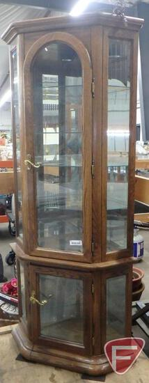 "Corner curio cabinet with lights, 35""w x 20""d x 72""h"