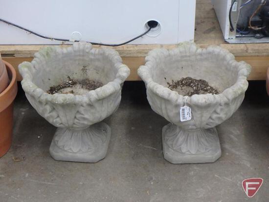 """Cement flower pots, 17""""H, both"""