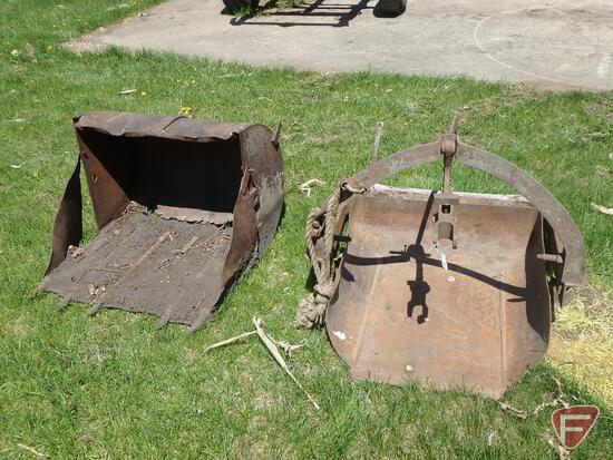 "Rear dirt bucket, 3 pt, 30""W, catagory 1, manure bucket for Ford loader"