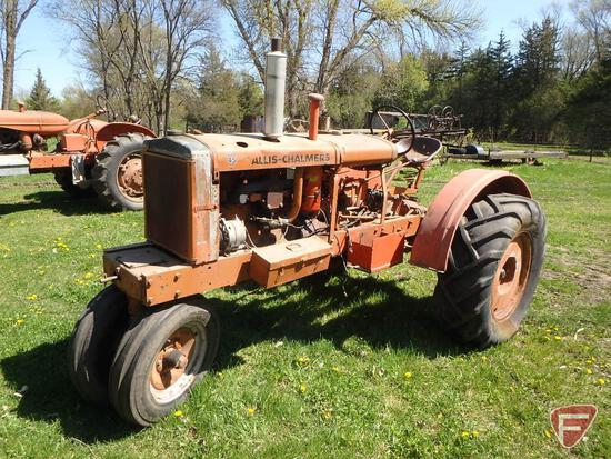 Allis Chalmers W-C tractor, 12 volt, belt pulley, starts and runs