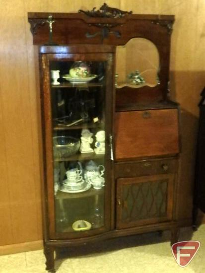 "Vintage cabinet/desk, mirror is cracked, 39""W x12""D x 69""H, on wheels, with key, and"