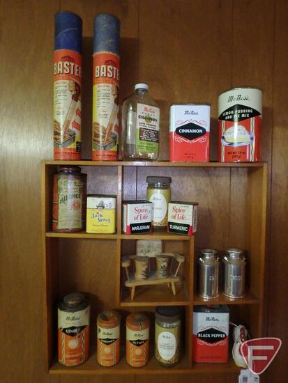 Wood wall shelf with vintage tins and containers. Shelf and contents.