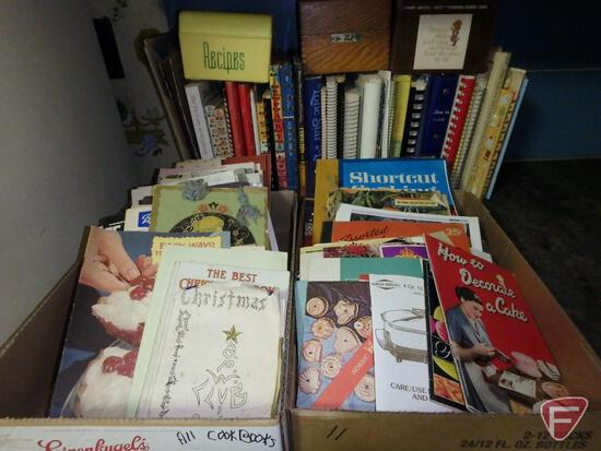 Assortment of cookbooks and recipe cards