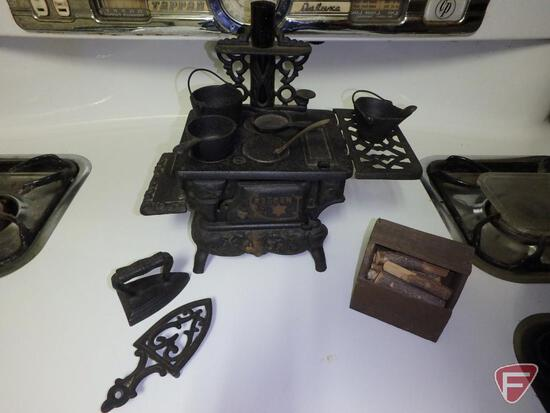 Crescent salesman/childs cast iron stove and iron, Griswold No7 skillet.