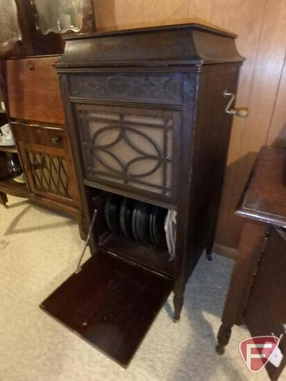 "Edison Disc Phonograph, Model C 150, 19""W x 20""D x 44""H, wood record storage cabinet, and"