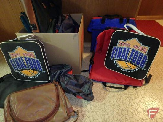 Travel bags, seat cushions, and bleacher seats.