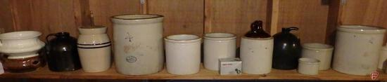 Crocks, Red Wing No 2, Red Wing No 4, blue band and salt glaze crocks and jugs.