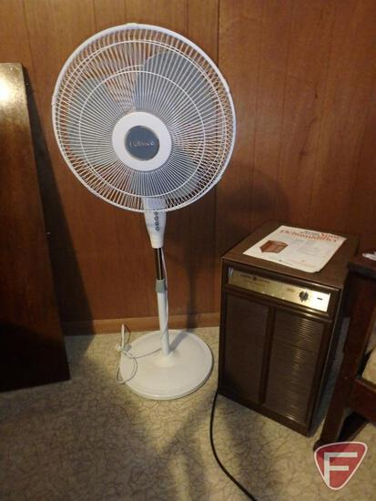 Holmes pedestal fan and General Electric Dehumidifier AHD14AA. 2 pieces