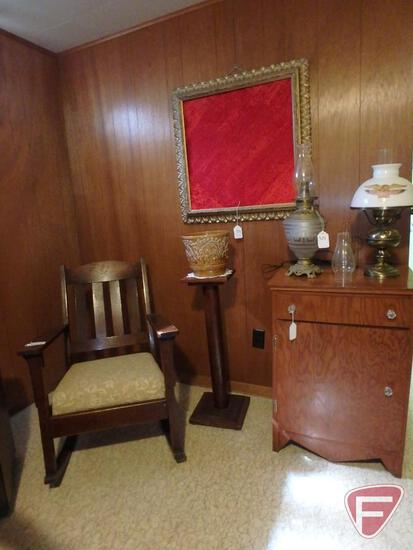 "Vintage rocking chair, cabinet 22""W x 17""D x 32""H, wood stand 32""H, (2) vintage electric lamps,"