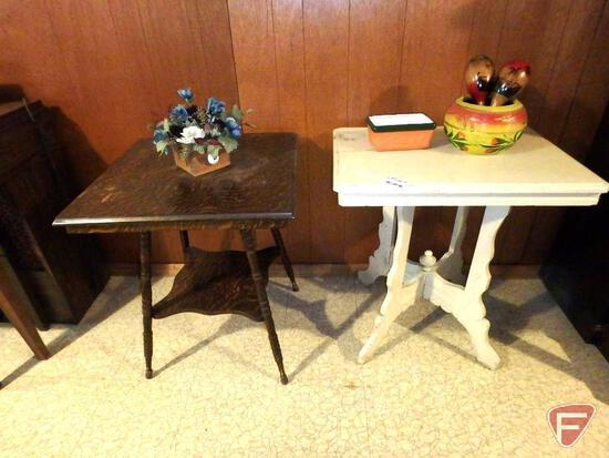 "(2) vintage occasional tables, painted is 28""W x 20""D x 29""H, maracas, pottery. Tables and contents"
