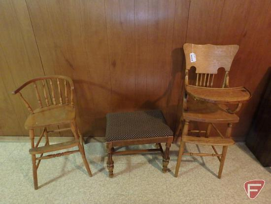 "Wood high chair, upholstored top bench, and child's chair 22"" to seat. 3 pieces"