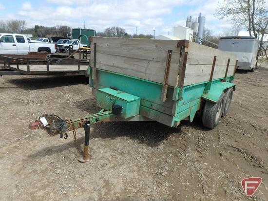 "1997 Sands Tandem Axle Dump Trailer, 142"" x 72"", 12"" metal sides with 23"" wood extension"