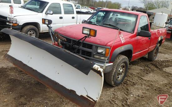 "1996 Chevrolet Cheyenne K3500 Pickup Truck with 8' 6"" Western Snow Plow"