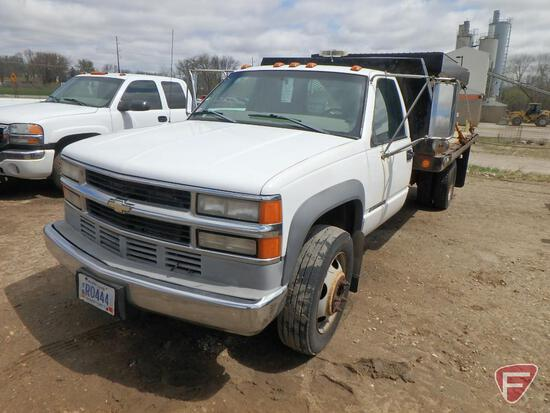 1999 Chevrolet C3500 Diesel Dually Flat Bed Truck, 14' x 8' Bed