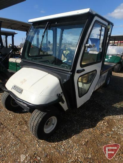 2008 EZ-GO electric golf with cab enclosure and flatbed, white, 876 hours