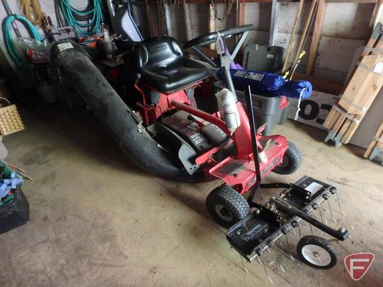 """Snapper 12.5hp 28""""riding lawn mower with bagger and Snapper Thatcherizer, electric cart"""