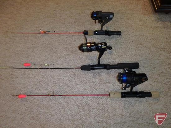 (3) Ice fishing spinning rods with spinning reels, appear to be medium/light; set up for panfish