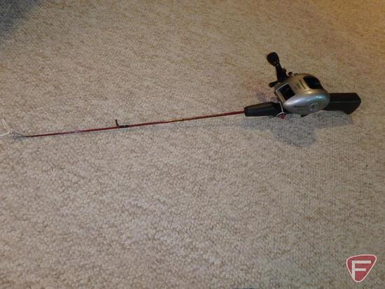 "Shakespeare Alpha 310 baitcasting reel on 24"" medium action ice fishing rod"