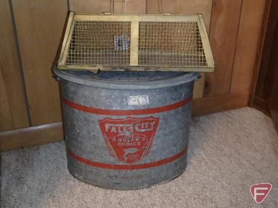 Galvanized oval-shaped minnow bucket, Falls City The Angler's Choice No. 7624